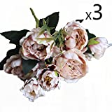 Conjugal Bliss 3PCS High-end Simulation Bouquet Mini Peony Rose Colored Rayon Artificial Flower 5 Color Party Home Shooting Props Mall Festive Wedding Decoration Fake Flowers (coffee)