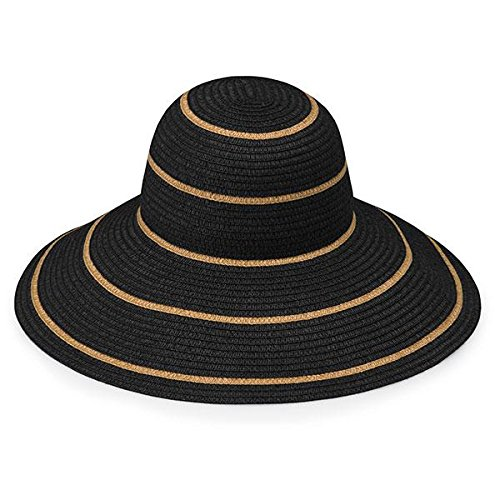 Wallaroo Women's Savannah Sun Hat - UPF 50+ - Packable (Black/Camel Stripes)