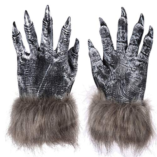 ErYao Halloween Werewolf Costume Wolf Claws Gloves Halloween Mardi Gras Cosplay Pretend Play Dress Up Costume Accessory (Black)