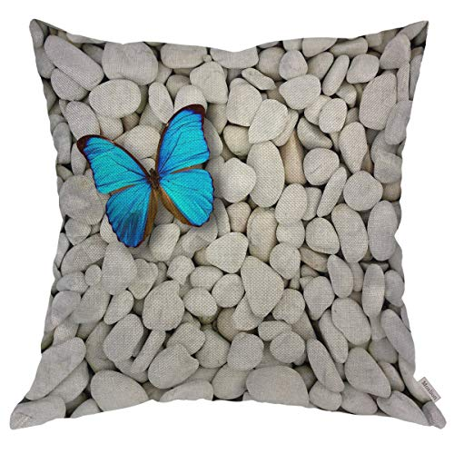 Moslion Throw Pillow Cover Case Navy Blue Nature Butterfly and Cute White Marble Stones Cotton Linen Cushion Covers for Couch/Sofa/Kitchen/Car/Boy Gilrs Bedroom Livingroom 18 x 18 inch Pillow case