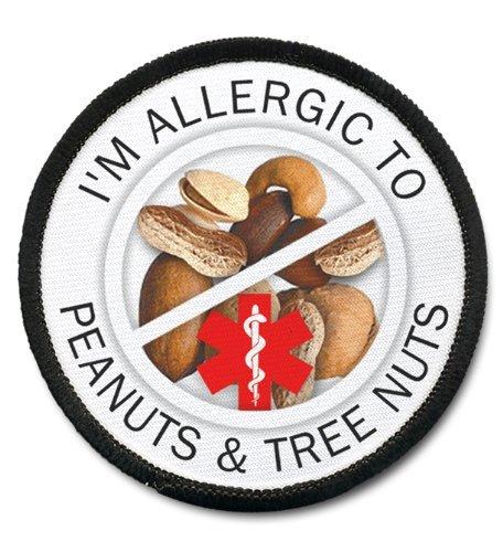 Árbol de alergia tuercas y cacahuetes alerta médica 2,5 pulgadas Negro Borde coser parche: Amazon.es: Juguetes y juegos