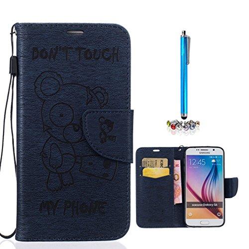 A9H Funda Samsung Galaxy A5 (2016) A510 Book Style de Cuero Sintético en Diseño Libro - Etui Case Cover Carcasa Caja Protección -01HUA 06deep blue
