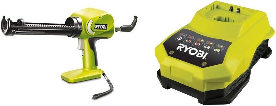 Ryobi One+ CCG 1801 MHG - Pistola de cartucho (sin batería ni cargador rápido) [Importado de Alemania] + Ryobi BCL14181H - Cargador Ryobi