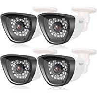 TMEZON 4 Pack AHD Camera 1.0MP 720P 3.6mm Wide Angle Lens 30 IR LEDs IR Cut Indoor Outdoor Waterproof Infrared Night Vision Security Surveillance HD Bullet Camera White Must be Used with AHD DVR