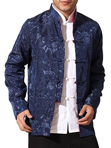 Bitablue Men's Auspicious Reversible Chinese Shirt (Large, Navy Blue/Red)