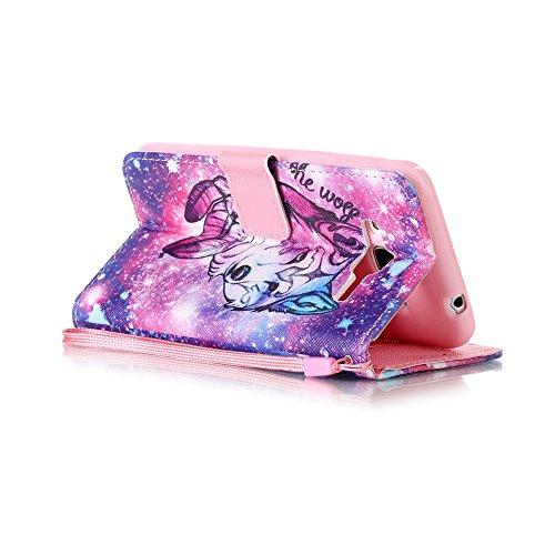 Custodia Samsung Galaxy J3 (2016) / J320F Cover Case, Ougger Lupo Stampa Portafoglio PU Pelle Magnetico Stand Morbido Silicone Flip Bumper Protettivo Gomma Shell Borsa Custodie con Slot per Schede