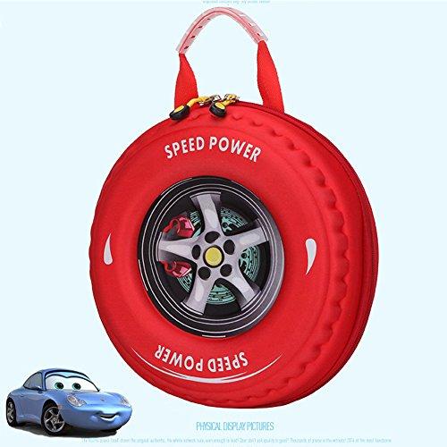 Uniqstore Kreative 3D Cartoon Nette Auto Reifen Kinder Schultasche Rucksack Kindergarten Rucksack blau Rot