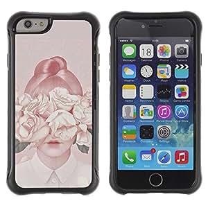 LASTONE PHONE CASE / Suave Silicona Caso Carcasa de Caucho Funda para Apple Iphone 6 / Lady Flowers Peach Vintage