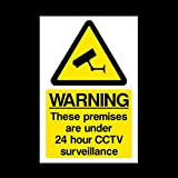 CCTV 24hr Surveillance Plastic Sign - Different Pack Sizes Available - Security, Camera, Closed Circuit TV, Warning Safety (MISC12) by USSP&S