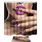 KOTOM Makeup Decor, Sex Woman with Purple Lips and Nail 69X70in Mildew Resistant Polyester Fabric Shower Curtain Suit With 15.7x23.6in Flannel Non-Slip Floor Doormat Bath Rugs