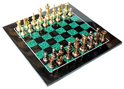 "15"" X 15? Collectible Chess Game Board Set Made with Black Marble, Malachite + Brass Pieces (Delivery ≪ 7 Days)"