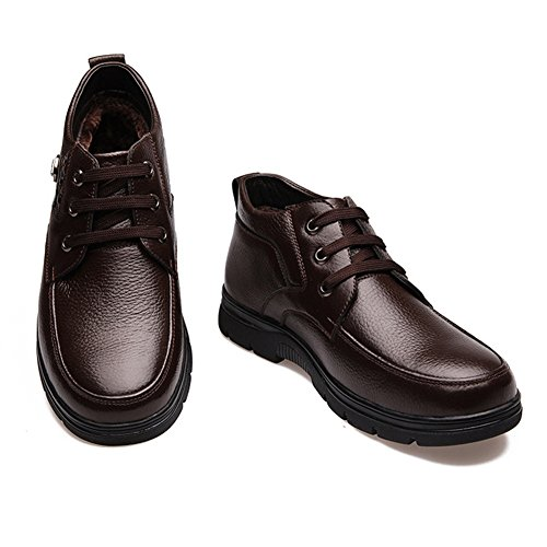 iLory Herren Warm Gefütterte Schneestiefel Business Casual Schuhe Winterstiefeletten Leder Braun Gr.44 j3xFfe
