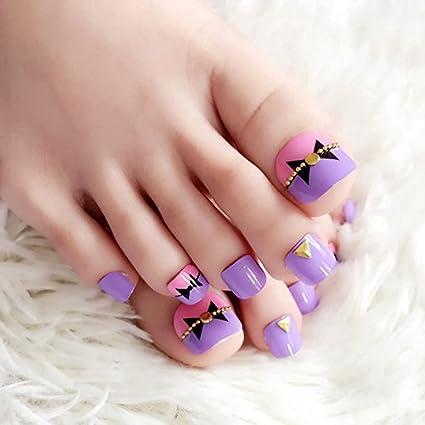 echiq 24pcs morado rosa pre-diseñadas uñas de los pies cadena lazo decoración uñas postizas