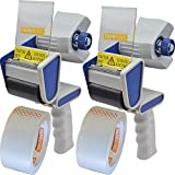 Tape King TX100 Packing Tape Dispenser Gun (2 Pack) - Plus 2 Free Rolls of Packaging Tape - Best Side Loading 2 Inch Lightweight Ergonomic Industrial Gun for Shipping, Moving, Carton and Box Sealing