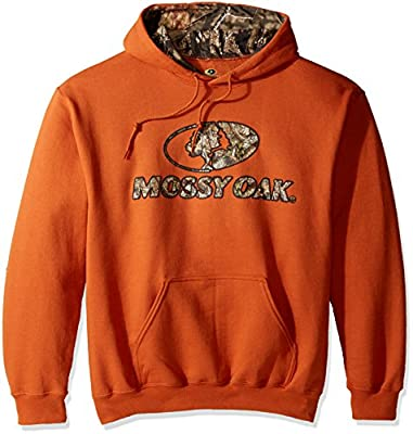 Mossy Oak Men's Printed Camo-Lined Hoodie, Texas Orange, 2X