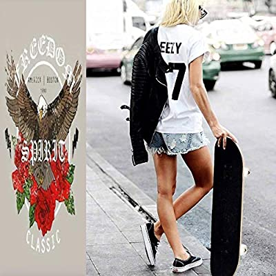 Classic Concave Skateboard Eagle with Flowers Freedom Spirit Classsic Slogan Typography Graphic Longboard Maple Deck Extreme Sports and Outdoors Double Kick Trick for Beginners and Professionals : Sports & Outdoors