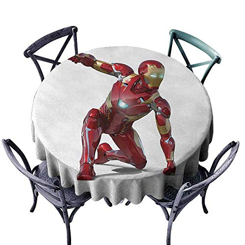HCCJLCKS Restaurant Tablecloth Superhero Robot Transformer Hero with Superpower in Costume Cyber Man Fun Character Print Picnic D43 White Maroon]()