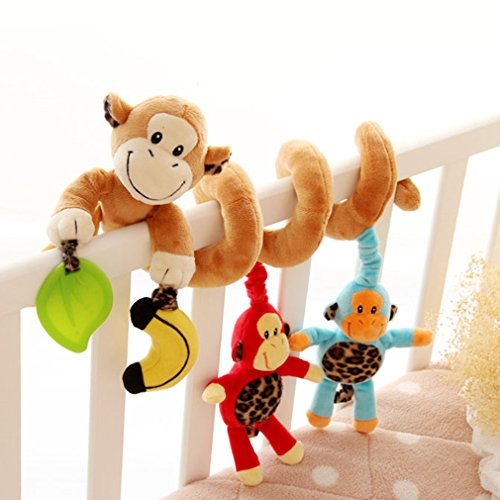 Kid Baby Spiral Bed Stroller Toy Monkey Animals Educational Plush Toy Car Seat Toy for Toddlers Baby Girls Boys Gift by TheBigThumb by TheBigThumb