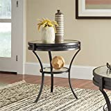 Coaster 705217-CO 1 Shelf Round Glass Top End Table, Sandy Black Review