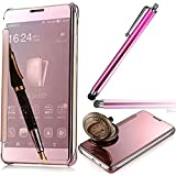 LG G6 2017 Mirror Case,Vandot Ultra Slim Thin Metal Electroplate Plating Flip Stand Book Style Case Cover 360°Full Body Anti-scratch Shock-Absorption Protective Shell+Stylus Pen-Pink