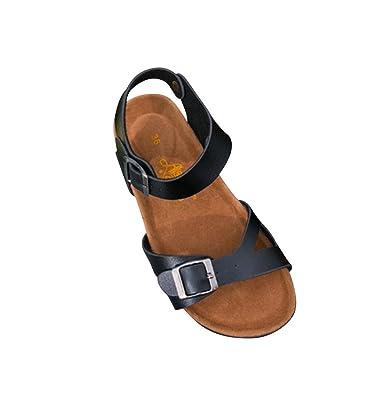 f520a2b5bf6929 ZKOO Damen Sandalen Flache Schuhe Kork Fußbett Glattleder Gurt Slipper  Hausschuhe Fesselriemen Zehentrenner Pantoletten Schlappen  Amazon.de   Schuhe   ...
