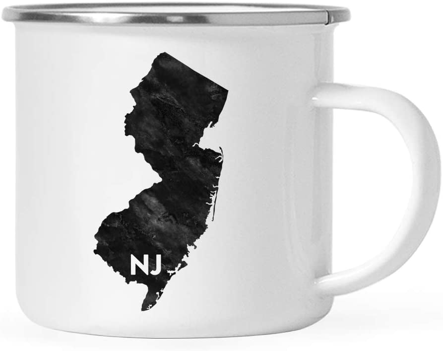 Andaz Press 11oz. US State Stainless Steel Campfire Coffee Mug Gift, Modern Black Grunge Abbreviation, New Jersey, 1-Pack, Metal Enamel Camping Camp Cup for Him Her Christmas Hostess