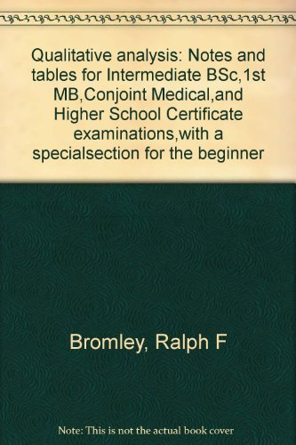 Qualitative analysis: Notes and tables for Intermediate BSc,1st MB,Conjoint Medical,and Higher School Certificate examinations,with a specialsection for the beginner