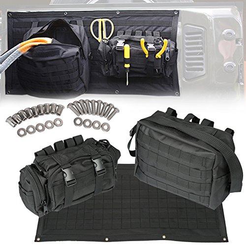 Opall Tailgate Bag Case Cover Tool Organizer Pockets for Jeep Wrangler JK JKU 2007 2008 2009 2010 2011 2012 2013 2014 2015 2016 2017 2018