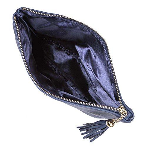 BMC da donna perforato oro tagliata Accent impuntura colore Fashion frizione borsa Blu (Blu navy)