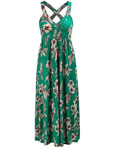 Cross Back Maxi Dress - MOQIVGI Midi Dress,Womens Floral Classy Casual Summer Tropical Sleeveless Long Tank Dress Criss Cross Back Bandage Strap A Line Draped Elegant Wedding Guest Dress Green Large