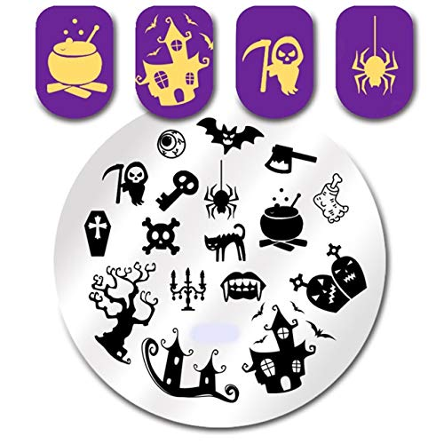 1 Pcs Halloween Spider Ghost Nail Art Stamping Plates Manicure Nails Stamp Stamper Plate Kits Lovely Popular Gel Polish Valentines Day Words Clear Design -