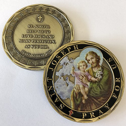 (Aizics Mint ST. Joseph Pray for US Catholic Commemorative Coin. Cast with Colorized Saint and Beautiful Iron Plating & Ancient Bronze Original one-of-a-Kind Design.)