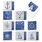 Nautical World - 10 Assorted All Occasion Blank Cards with Envelope (4 x 5.12 Inch) - Classic Sailing Greeting Note Cards - Ship, Map, Anchor Boxed Stationery Card Notecard Pack AMQ6671OCB-B1x10