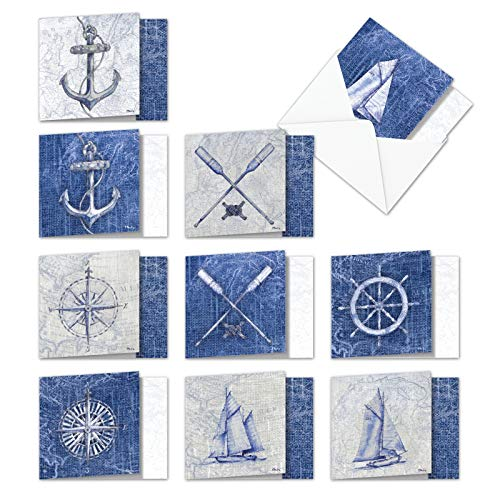 (Nautical World - 10 Assorted All Occasion Blank Cards with Envelope (4 x 5.12 Inch) - Classic Sailing Greeting Note Cards - Ship, Map, Anchor Boxed Stationery Card Notecard Pack AMQ6671OCB-B1x10 )