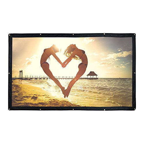 100 Inch Outdoor Portable Projector Screen, YF2009 DIY Folding Movie Screen 16:9 - for Camping/Indoor Home Cinema Theater/Education/Office Presentation