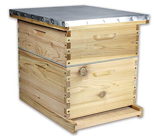 ARBORIA Beehive Kit 10 Frame Premium Cedar 2 Hive Boxes Deep and Medium Metal Telescoping Cover for Beekeeping, 18 x 22 in ()