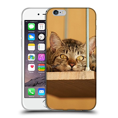 Just Phone Cases Coque de Protection TPU Silicone Case pour // V00004201 Allongé chat avec le regard fou // Apple iPhone 6 6S 6G PLUS 5.5""