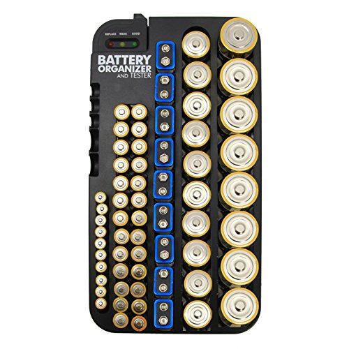 Whizzotech Battery Organizer And Tester for AA AAA C D 9V Battery Storage Holder/Container (All-in-One&Tester)