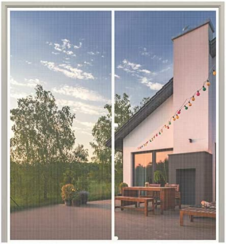 """MAGZO Magnet Screen Door 72 x 80, French Door Magnetic Mesh with Heavy Duty Fits Door Size as much as 72""""x80"""" Max-White"""