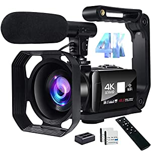 Flashandfocus.com 51-GxlRF55L._SS300_ 4K Video Camera Camcorder 48MP Image Vlogging Camera with Wi-Fi Video Camera for YouTube with Microphone, Remote Control…
