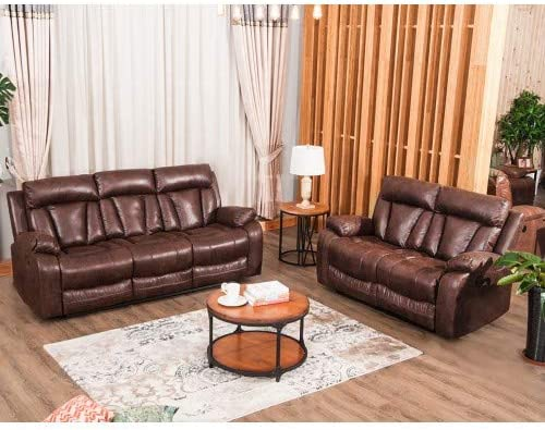 MOOSENG, 3 Piece Living Room Couch Leather Accent Chair Set Manual Reclineing Home Office Loveseat 3-Seat Sofas, Brown-5