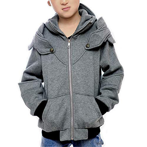Men's Boys Arthur Knight Hoodie Medieval Armor Sweatshirt Hooded Jacket Coat (Boys 4-6, Gray0) -