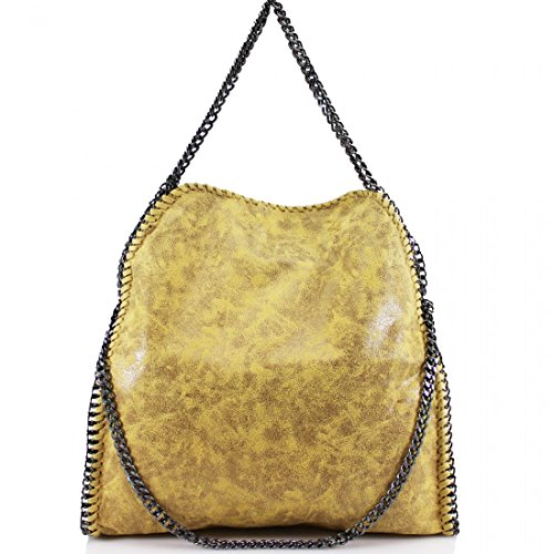 Shoulder YDezire® Bag Designer Detail Chain Work Tote Frame Ladies Handbag Yellow New Womens OYOrwq18