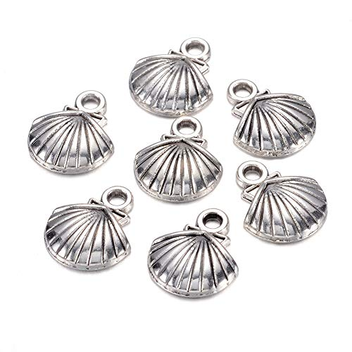 Craftdady 50Pcs Tibetan Antique Silver Sea Shell Alloy Pendants 14x11.8mm Lead Free & Cadmium Free Metal Beach Theme Charms for DIY Summer Jewelry Craft Making