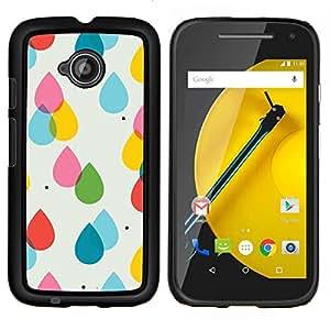 EJOOY---Cubierta de la caja de protección para la piel dura ** Motorola Moto E2 E2nd Gen ** --Rain rosa Lunares amarillos verano