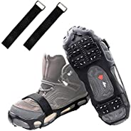 Shaddock Fishing Ice Cleats Ice Crampons Snow Grippers, 24 Spikes Traction Cleats for Boots Shoes Men Women Kids Anti Slip S