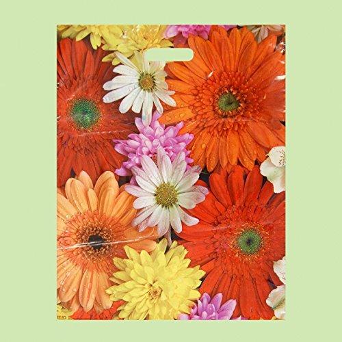 Pack de 50 Eco Flower-printed/Compras/bolsas de regalo de plá stico 40 x 50 cm EXTRAPACK