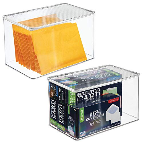 (mDesign Plastic Office Storage Bin with Lid - Holds Note Pads, Gel Pens, Staples, Dry Erase Markers, Envelopes, Tape - 7