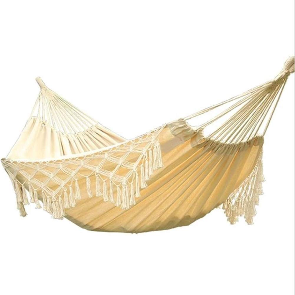 AFFC Camping Hammock Outdoor Portable, Lightweight, Well-Ventilated Canvas, Cotton for 2 Person Camping/Outdoor/Travel - White