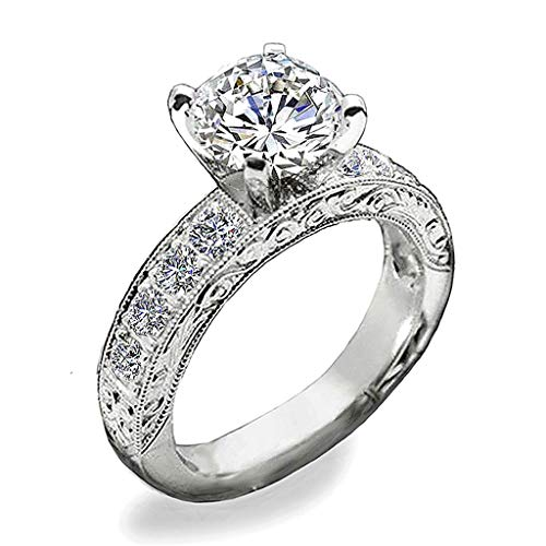 - Venetia Top Grade Hearts & Arrows 2 or 1 Carats Simulated Diamond Ring Band Set Art Decor Scroll Pattern Pave